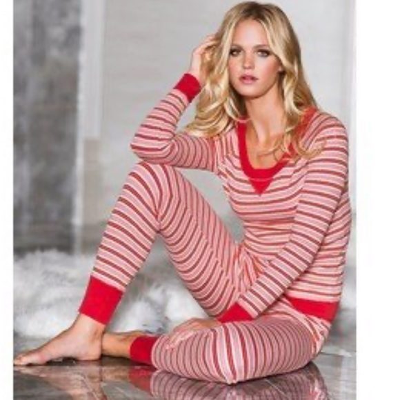 Victoria's Secret Other - Victoria's Secret Candy Cane Thermal two piece PJ